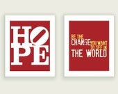 Motivational Posters - Hope & Change - Deep Red - Set of Two 8x10 Art Prints