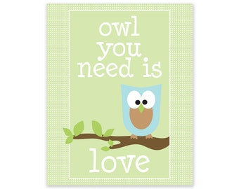 Nursery Art Owl You Need Is Love Print in Green and Blue