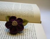 Kanzashi Flower Brooch - Plum Purple and Gold Christmas Gift Under 20