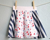 Girls Skirt - Blue and Red Stars Stripes and Hearts, READY TO SHIP (12-18, 2t, 5/6, 11/12, 13/14)