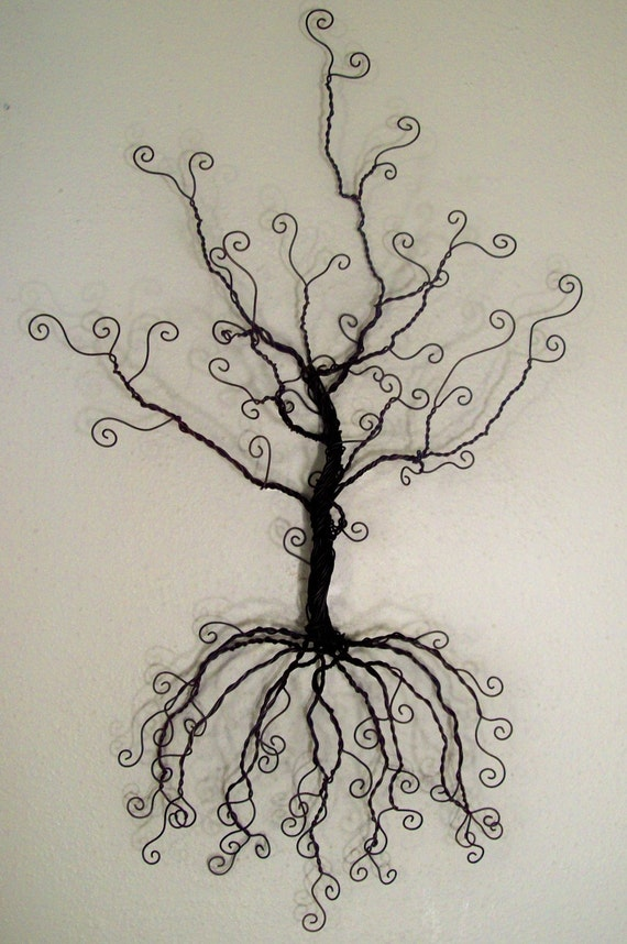 Rserved for amber wire tree wall hanging jewelry holder for How to make a wire tree jewelry stand