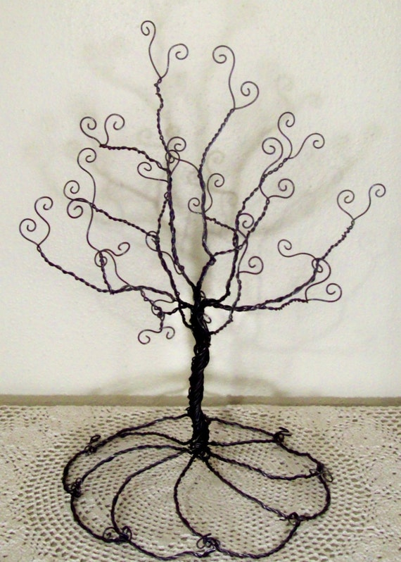 Wire tree stand jewelry holder sculpture for How to make a wire tree jewelry stand