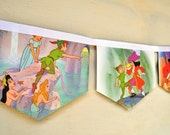 Peter Pan: Vintage Little Golden Book Bunting Banner Paper storybook Children Repurposed story book Decoration eco friendly re purposed gift