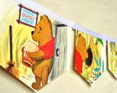 WIINNIE the POOH meets GOPHER Vintage Little Golden Book Bunting Banner Paper Children Repurposed Decoration eco friendly gift baby shower