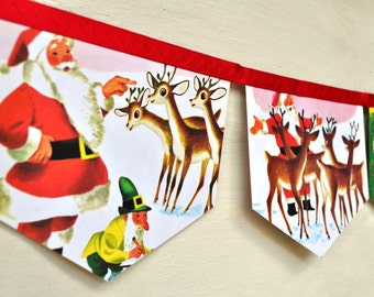 RUDOLPH the RED NOSED Banner Reindeer  Christmas decoration Vintage Little Golden Book storybook garland paper Eco friendly repurposed party