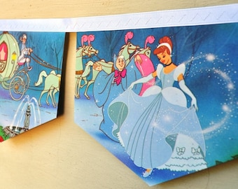 CINDERELLA Banner Walt Disney Vintage Little Golden Book fairytale Bunting childrens decoration paper story book re-purposed eco friendly