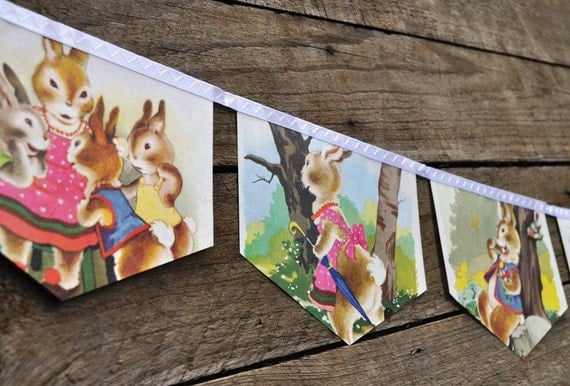 The TALE of PETER RABBIT Banner Vintage Little Golden Book Bunting Eco Friendly Repurposed Children's Decoration Easter