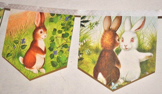 HOME FOR A BUNNY Banner Easter decoration nursery decoration childrens party bunting rabbit little golden book baby shower new baby