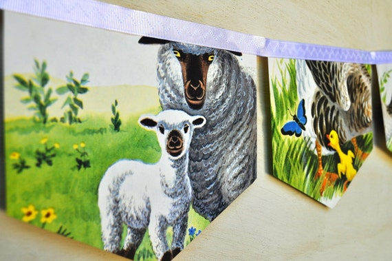 ANIMALS on the FARM BANNER Vintage Little Golden Book Bunting Children Paper Decoration Eco Friendly Re purposed baby shower birthday party
