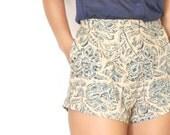 Indigo Block Print Hot Shorts