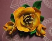 60s Orange Rose Brooch