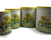 60s Sunflower Yellow Set of Four Canisters
