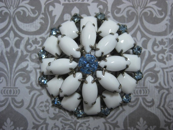 White Milkglass and Blue Brooch