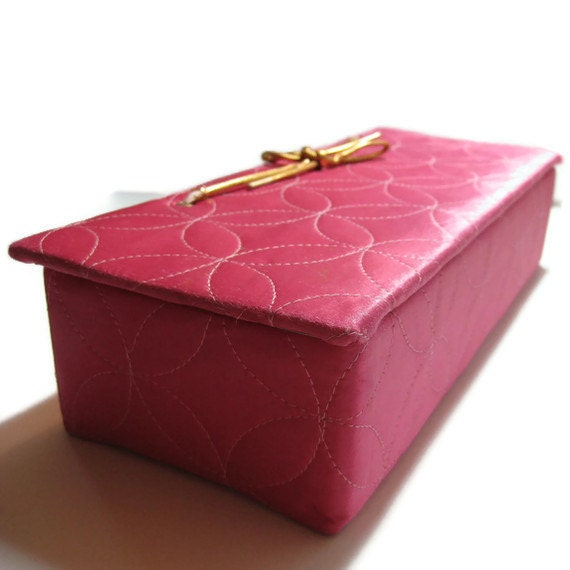 Selwell Quilted Hot Pink Satin Glove Box
