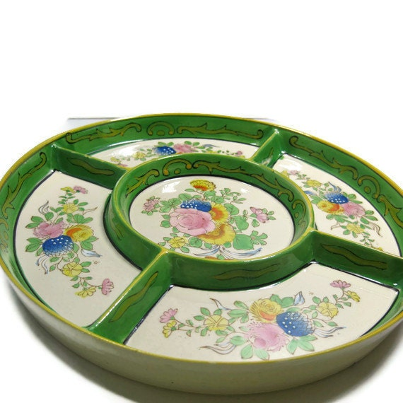 Vintage Hand Painted Japanese Divided Relish Tray with Painted Laquered Box