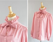 Vintage Edwardian style Blouse by MONTGOMERY WARDS Antique Rose Colored with High Frilly Collar