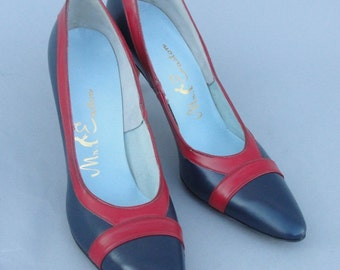 Vintage 1960s Blue and Red Heels by  MR. EASTON size 7 AAA