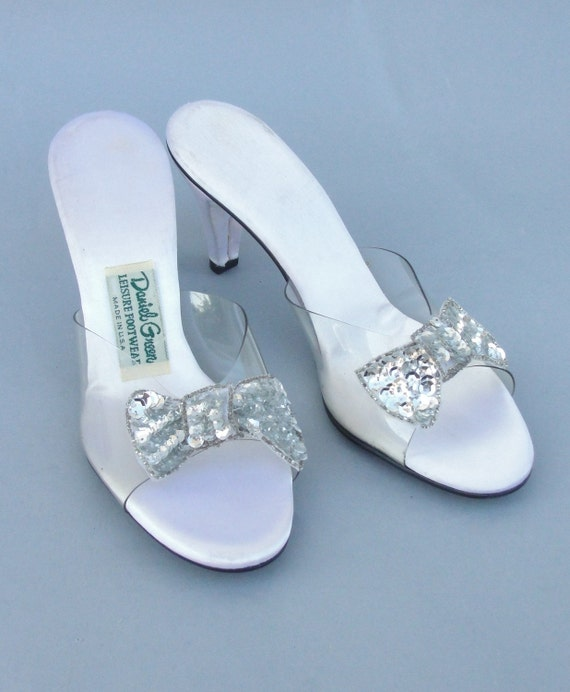 Vintage 1970s DANIEL GREEN  Lucite High Heel Bedroom Slippers