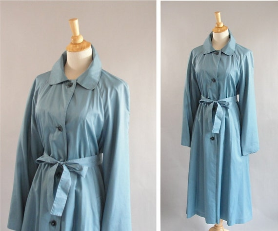 Vintage Blue Trench Rain Coat by BONNIE CASHIN with matching Belt