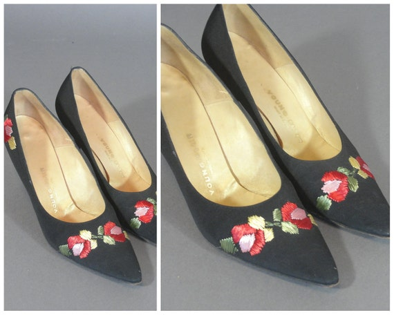 vintage 1960s Black Heels with Floral Stitching by Young Flair