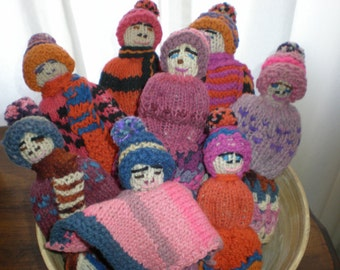 "Ugly Sweater 'Winterfolk"" Wool Dolls Nordic Family Of 8 Folk Art Primitive Dolls Hand Knitted Wool Sweater Family Perfect For Hearth Decor"