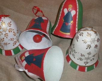 Yule Bells (5) Scandinavian Mid Century Plaster Paper Mache'  Plaster Ornaments. Handmade Set Of 5