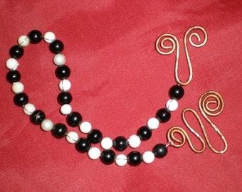 Meditation Chain Black Onyx & Quartz Prayer Bead-Yin Yang Hand Chain On Copper For Energy-Focus-Balance