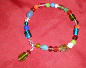 Glass Ankle Bracelet Or Fashionable Pet- (Cat / Dog) Collar Art Glass Hand Beaded & Beautiful - OOAK