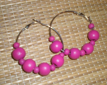 Hot Pink Hoops Beaded Earrings With Painted Wooden Beads-Cool Big 80s Vintage Chic