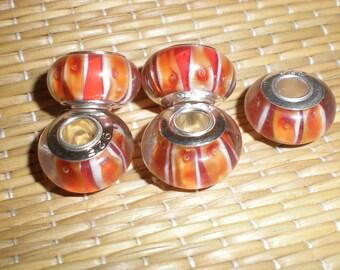 Orange Lampwork Beads (1) European Type Glass Bead For European Jewelry .925 Sterling Silver Un-Threaded Core