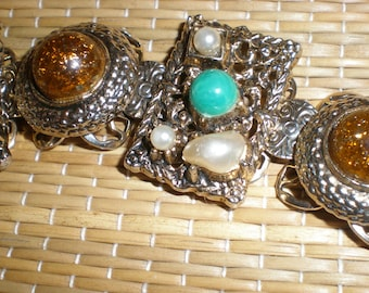 Amber Look Mid Century Aztec Style Multi-Stone Panel Link Tribal Bracelet Fun Vintage Retro Fashion
