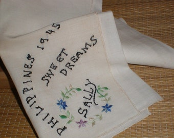 """Sally's WWII Romantic Handkerchief Embroidered Soldier's Luck """"Sweet Dreams""""  Memo dated 1945 Military Collectible"""