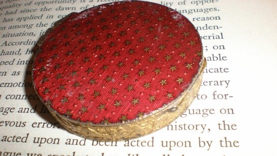 """Red Stars Compact-Vintage Italian Enameled Small """"Powder Your Nose Beauty"""" With Sifter And Beautiful Raised Floral Back"""