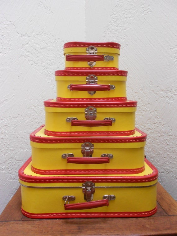 Yellow & Red Suitcases -Vintage Set Of 5 Pasteboard Child's Set -Mid Century -Versatile To Use In Surprising Ways