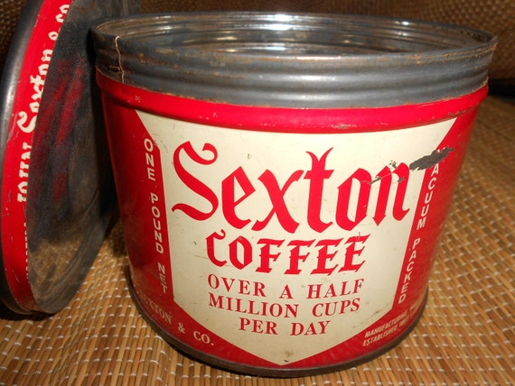 "50s Coffee Can/Tin ""Sherman-Sexton Blend Exquisite Coffee"" Two Sided Litho Red Key Opened Collectible"