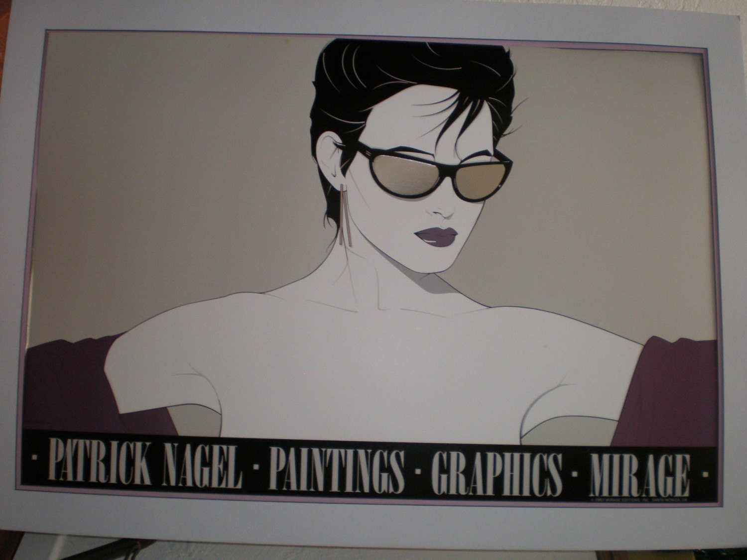 80s Vintage Iconic Patrick Nagel Sunglasses Large And Mounted