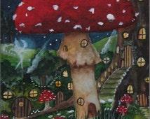 "ACEO Print -""Shroom Lane"" Faerie Village Series"