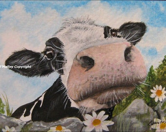 ACEO Print -How do you Moo- Cow
