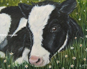 ACEO Print  -A New Moo- Cow\/ Calf
