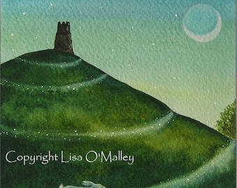"Hare Print "" Twilight Pathway"" Glastonbury Tor"