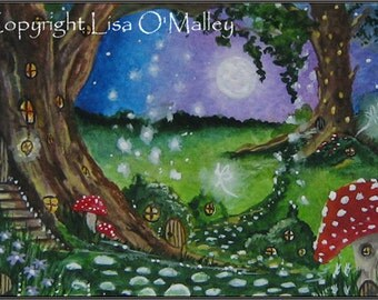 "ACEO Print ""Enchantment at the Dell"" Faerie Village Series"