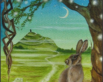 "Hare Print "" Spirit Path to Avalon"" Glastonbury Tor."