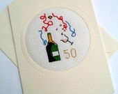 50th Golden and 25th Silver Wedding Anniversary Blank Cross Stitch Card