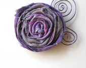 Wearable Whimsy in purple and gray - Rolled ribbon rosette pin with purple scrolled wire