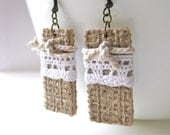 Country Girl - Burlap covered earrings with white lace and knotted rope...feminine, rustic, country, shabby chic