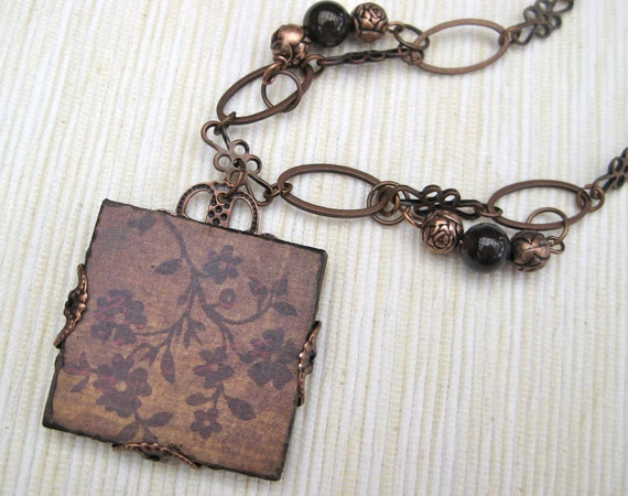Tea Leaf - Floral patterned pendant necklace in russets, browns, and copper