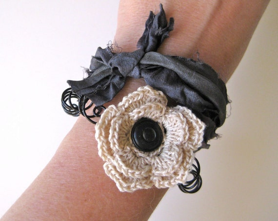 Cottage Blooms Bracelet Collection - Cream/ecru crochet flower and spiraled wire bracelet with dark gray silk sari ribbon