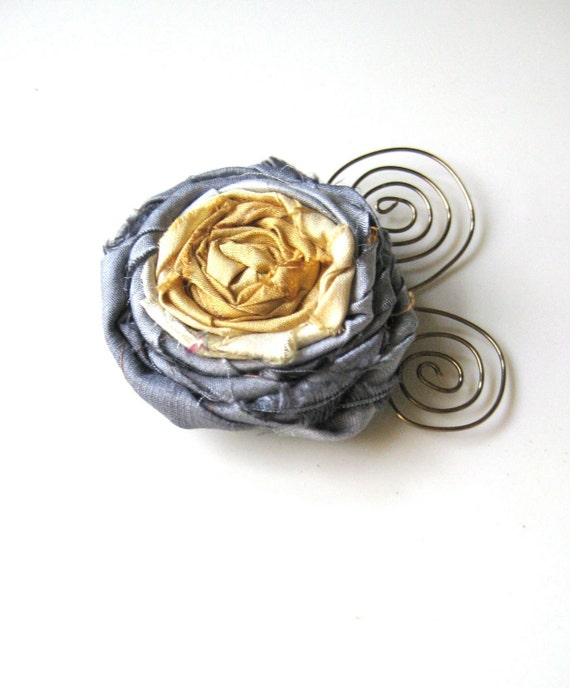 Wearable Whimsy in yellow and gray - Rolled ribbon rosette pin with antique brass scrolled wire