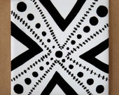 Spots Marks The X hand painted tile - reserved for rekha