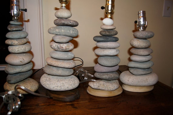Items Similar To Stacked Rock Cairn Lamp For Amily On Etsy